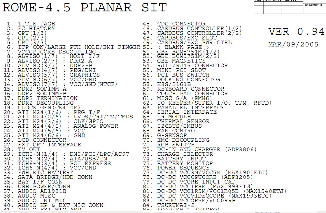IBM ThinkPad T43 schematic two versions     Laptop Schematic