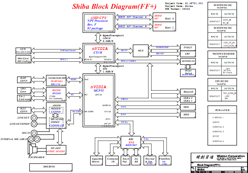 Hp Pavilion Dv2000 Dv3000 Schematic Amd Shiba   U0026 Board