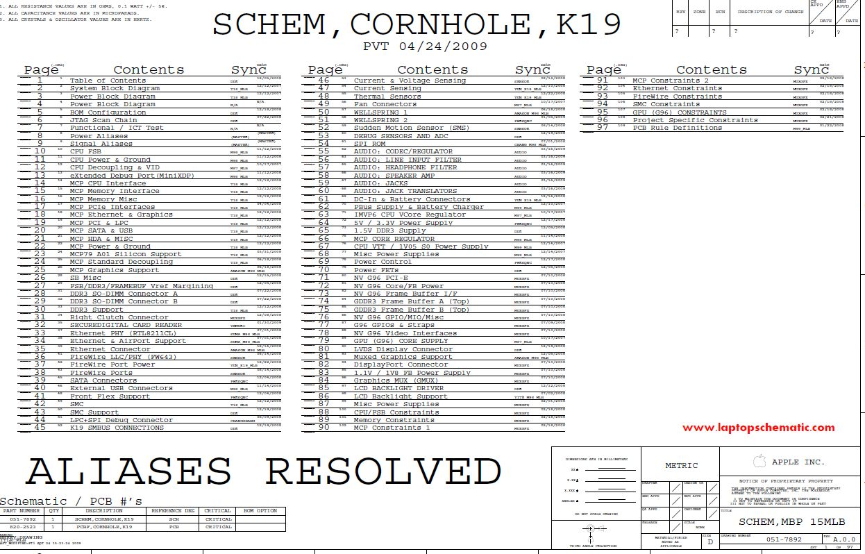 Apple Macbook Pro A1278 Schematic Diagram K19   U2013 Laptop