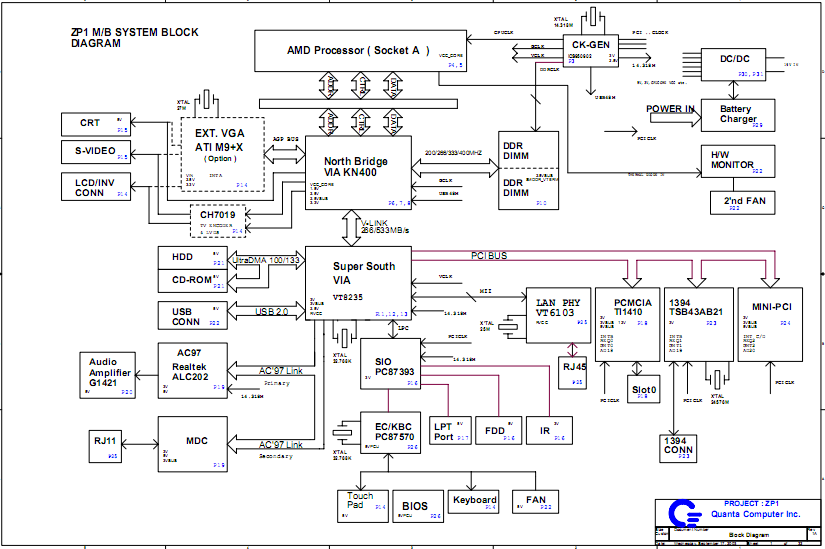 Acer Aspire 1350 1353 1355 1356 Schematic Diagram Laptop